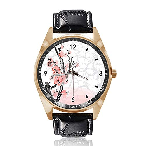 Plum Blossom Custom Design Armbanduhr Analog Quarz Gold Zifferblatt Klassische Lederband Damen Herren Armbanduhr -