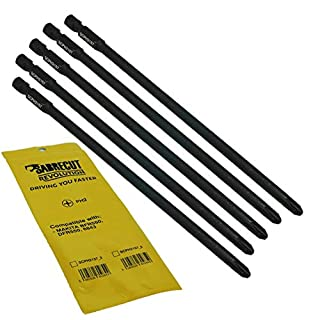 5 x SabreCut SCPH2157_5 157mm PH2 Autofeed Collated Drywall Screwdriver Gun Bit Single Ended Phillips No.2 Heavy Duty for Makita BFR550 6843 DFR550