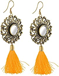 Zephyrr Earrings Hanging Hook Dangle Mirror with Tassel