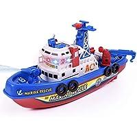AimeFor Juguetes Modelo eléctrico de los niños con la luz y el Fuego de Sonido Barco de Agua Buque de Guerra Marina