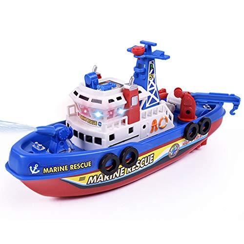 PoeHXtyy Elektrische Rettungs-Feuer-Boot-Spielzeug-Wasser-Spritzen-Schiffs-Modell mit Ton-Blitzlicht-Schwimmbad-Bad-Spielzeug