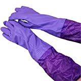 #9: House of Quirk Reusable Rubber Latex Household Kitchen Long Gloves-Free Size
