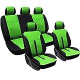 WOLTU AS7288gn Universal Schonbezüge für Auto Sitzbezüge Sitzschoner Sitzbezug Auflage, Kunstleder, schwarz-grün