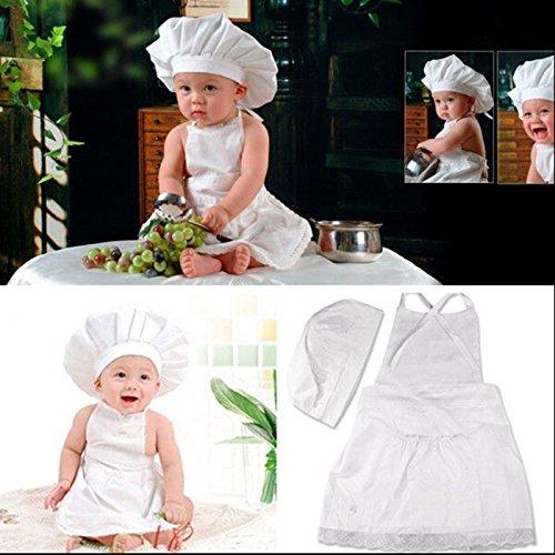 oshide Küchenchef Kostüm Koch-Kostüm Hut Schutzblech für Baby 0-6 Monate Fotografie