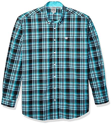 Cinch Herren Classic Fit Long Sleeve One Open Pocket Plaid Shirt Button Down Hemd, Cesar Schwarz, X-Groß -