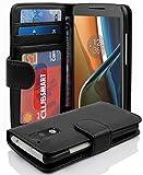 Cadorabo Hülle für Motorola Moto G4 / Moto G4 Plus - Hülle in Oxid SCHWARZ – Handyhülle mit 3 Kartenfächern - Case Cover Schutzhülle Etui Tasche Book Klapp Style