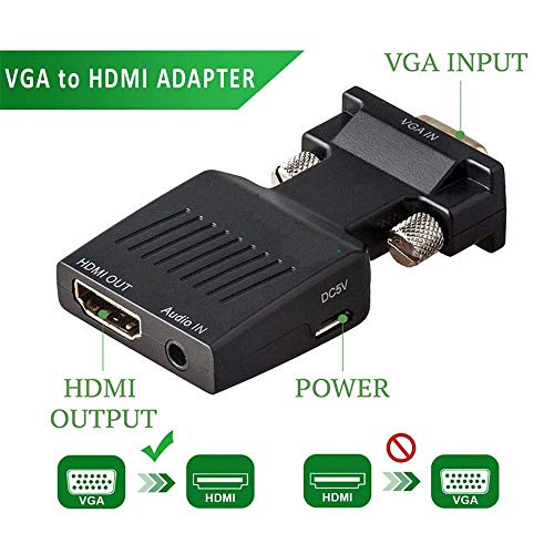 Brand Conquer VGA to HDMI Adapter/Converter with Audio,(PC VGA Source Out to TV/Monitor with HDMI Connector),Active Male VGA in Female HDMI 1080p Video Audio for Computer,Projector