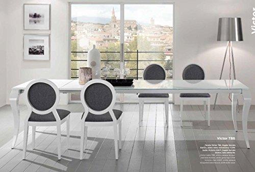 Friulsedie Table Extensible T86 Victor 140 x 90 Plus Pieds hêtre laqué Brillant Blanc Plan Verre Anti-Rayures