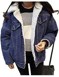 Cappotto Jeans Donna Eleganti Invernali Addensare Caldo Vintage Manica  Lunga Giacche Jeans Ragazze Moda Casual Bavero e0f7e13c7f9