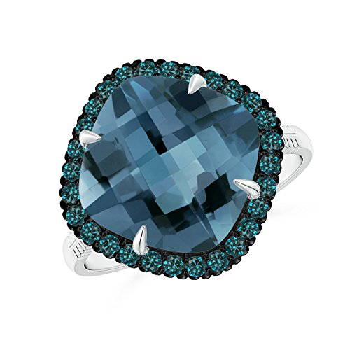 Angara.com - 14 Kt Weißgold Kissenschliff London Blue Topaz (Ring London Weissgold Blue Topas In)