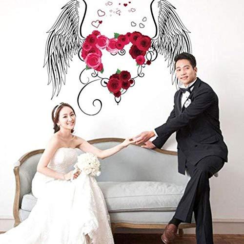 Adesivi murali adesivo da parete con ali di piuma 3d adesivo da parete con fiori romantici decorazioni per la casa soggiorno camera per bambini tv rimovibile sfondo decalcomanie in vinile 50x50cm