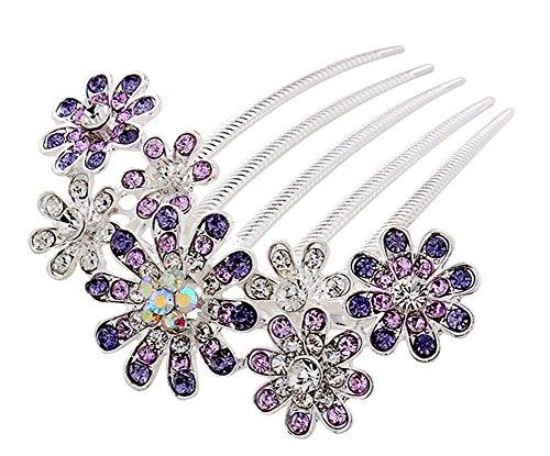 lumanuby Haarspange Full Color Diamant Haar Kamm Braut Kopf Blume Schmuck Haar Clip für Hochzeit Party gelegt werden  gelegt werden