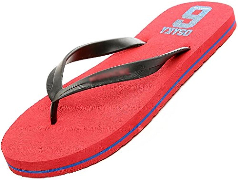 Herren Hausschuhe rutschfeste Freizeit Sommer Trend einfache Mode Strand Sandalen ( Farbe : Rot   größe : US:10