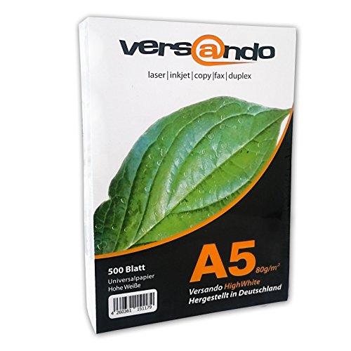 Preisvergleich Produktbild Versando V80A5HW500 ökologisches Druck- und Kopier-/Universalpapier, 500 Blatt DIN A5 148 x 210 mm 80g/m², hochweiß 80