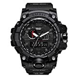ZRSJ Herren Sportuhr LED Military Armbanduhr 50M Wasserdichte Sportuhr Rubber Shock Resistant Casual Uhr (Schwarz)