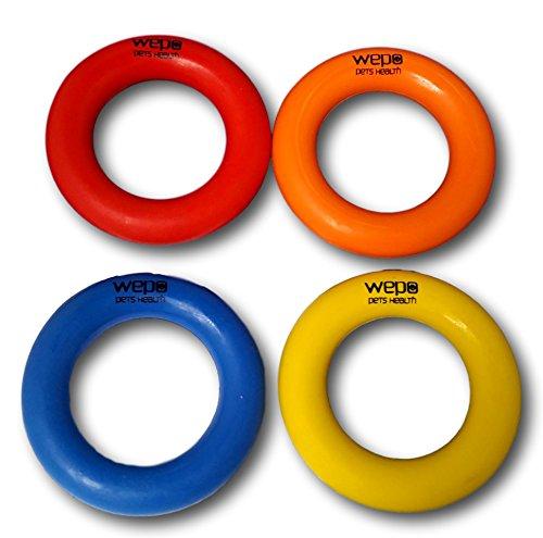 WEPO Hundespielzeug l Robuster KauRing aus Naturkautschuk ( Naturgummi ) l Dicke 2cm und 9cm Durchmesser perfekt für Welpen l unzerstörbarer Hartgummi- Ring l Welpenspielzeug l Aportierspielzeug (4er-Mix Bunt)
