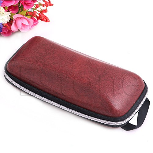 Lamdoo Portable Leder Zipper Brillen Sonnenbrillen Clam Shell Hartschalenetui Dark Red