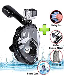 Snorkel Mask Full Face 180 Panoramic View - Underwater Surface Diving Snorkeling For Kids & Youth - Gopro Camera Mount-All Water Sport-Antifog, Antileak, Easy Breathing-Snorkeling Set With Accessories