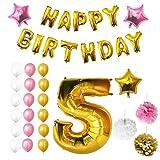 Ballons Happy Birthday Anniversaire, Fournitures & Décorations par Belle Vous - Set tout-en-un - Gros Ballon Aluminium 5 Ans- Ballon de Décoration en Latex Or, Blanc & Rose - Décor Adapté pour les Jeunes Enfants (Age 5)