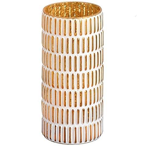LARGE VASE GOLD AND WHITE PATTERNED CANDLE HOLDER