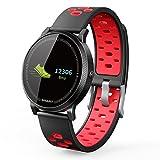 Smart Watch iOS Kompatibel, elecfan 0.96 Inch OLED Smart Watch IP67 Wasserdicht Fitness tracker Schrittzähler Uhr mit Schlafmonitor Kalorienzähler Vibrationsalarm Anruf SMS Whatsapp Beachten für iPhone Android Handy, Rot
