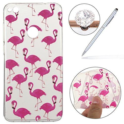 Preisvergleich Produktbild Huawei P8 Lite 2017 Hülle Silikon,P8 Lite 2017 Case,Huawei Honor 8 Lite Schutzhülle,Felfy Transparent Ultra Dünn Slim Soft Gel Silikon Handyhülle Schutzhülle TPU Clear Case Wassermelone Bananen Pony Flamingos Löwenzahn Traumfänger Farbe Muster Backcover Bumper Handytasche Anti Scratch Handyhülle Handycover Etui Tasche für Huawei P8 Lite 2017 / Honor 8 Lite [Hot Rosa Flamingos] + 1x Silver Stylus+ 1x Bling Dust Plug [Zufällige Farbe]