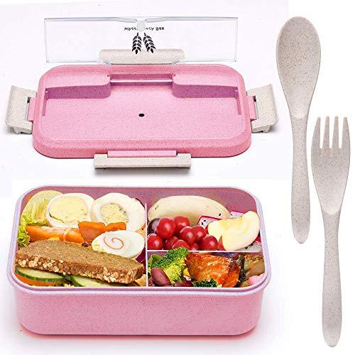 ASANMU Lunchbox, Bento Box mit 3 Fächern und Besteck Auslaufsichere Brotzeitbox Geeignet für Büro Schul Brotdose Picknick Brotdose für Kinder Und Erwachsene Vesperdose Mikrowelle Heizung (Pink)