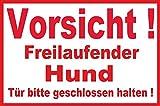 Hundeschilder Hunde Schild Schilder -05s- Vorsicht freilaufender Hund 29,5cm * 20cm * 2mm, mit 4 Eckenbohrungen (3mm) inkl. 4 Schrauben