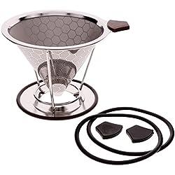CALISTOUK Edelstahl Coffee Filter mit Cup Ständer Double Layer Kaffee Sieb