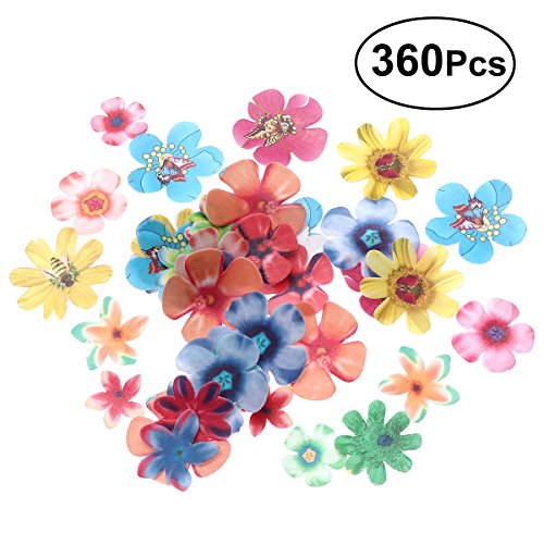 BESTONZON 360 stücke Nette Blumen Cupcake Toppers Geeignet für Hochzeitstorte Geburtstag Party Essen Dekoration (0,65mm Dicke) (Schmetterling Hochzeitstorte Topper)