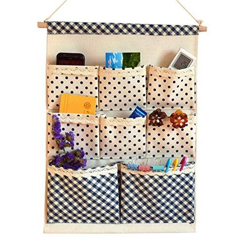 Acmede borsa portaoggetti da parete colorato in stoffa organizzatore da appendere con 8 tasche