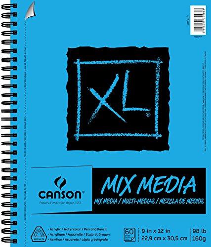 Pro-Art 457489 Canson XL Multi-Media Paper Pad 9 pulgadas x 12 pulgadas -60 Hojas