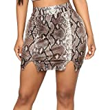CICIYONER Frauen Rock Damen Abendrock Damen Elastic Herbst Snake Print Stretch Bodycon unterhalb des Knies Party Rock
