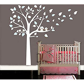 MAFENT Two Cute Owls Standing Large White Tree Wall Sticker Baby Nursery  Bedroom Wall Art Decor Part 40