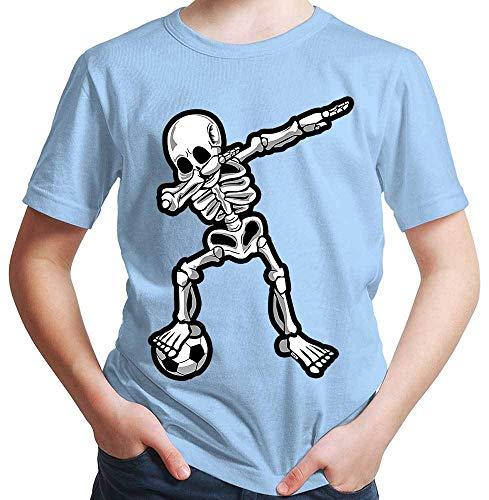 HARIZ  Jungen T-Shirt Dab Skelett mit Fussball Dab Dabbing Dance Halloween Plus Geschenkkarten Himmel Blau 164/14-15 ()