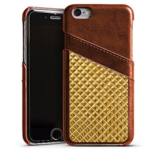 Apple iPhone 4 Housse Étui Silicone Coque Protection Rivets Or Motif Étui en cuir marron