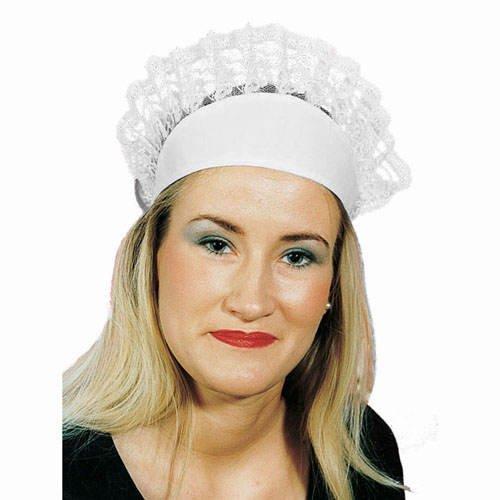 Hut Servierhaube, weiß, mit (Dienstmädchen Kostüm Hut)