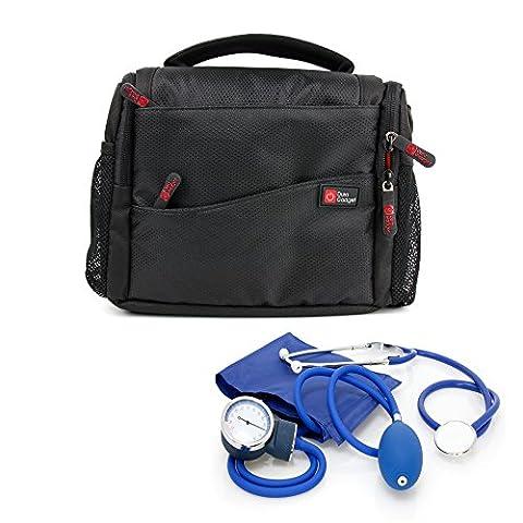 Sacoche de premiers secours pour infirmiers / aide soignants / médecins / secouristes/ pompiers - compartiments pour votre matériel médical - noir/orange