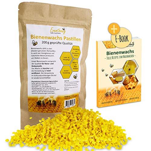 100% natürliche schnell schmelzende Bienenwachs Pastillen vom Imker für die Herstellung Salben Seifen Kerzen 100g 200g im lichtundurchlässigen wiederverschließbaren Beutel für lange Haltbarkeit