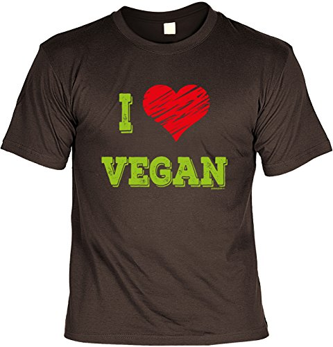 Veganer/Grill/Spaß-Shirt/Fun-Shirt/Rubrik lustige Sprüche: I Love Vegan - geniales Geschenk Braun