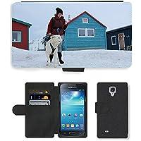 Just carcasa caliente estilo teléfono celular ranura de tarjeta Pu funda de piel//m00139390Girl de perro Invierno Norway Svalbard//Samsung Galaxy S4Mini i9190