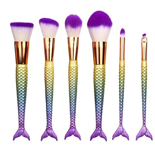 Coolster 6Pcs Pro Multicolor Make-up Kosmetik Pinsel Set Pulver Fisch Skala Griff (Up Schwarze Make Frauen Tutorial)