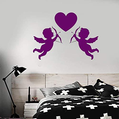 Zaosan Liebe Symbol Cupid mit Bogen Hochzeitssalon Wandaufkleber Innenfenster Dekoration Tür Abnehmbare Kunst Wandtattoo Lila 114x82 cm