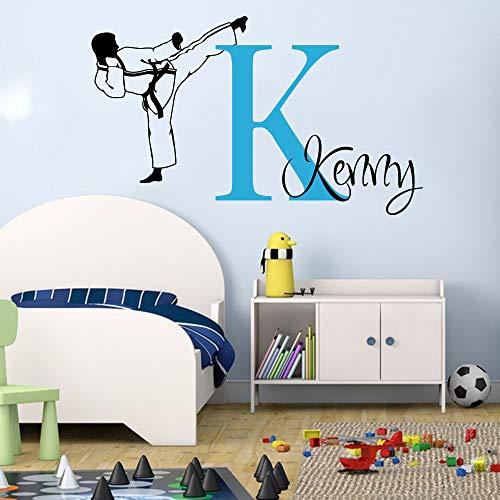 jiuyaomai Große benutzerdefinierte Name Karate Martial Taekwondo Wall Decal Boy Zimmer Personalisieren Boxen Judo Sport Wandaufkleber Schlafzimmer Spielzimmer Vinyl 85 cm breit x 50 cm hoch