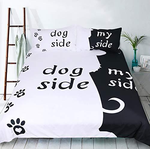 t & dogSide Weiche Mikrofaser Bettwäsche Set 3stk Bettbezug-Set (1 Bettbezug mit Reißverschluss + 2 Kissenbezüge),A,Queen ()