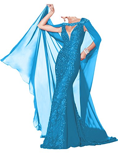 a7b50c75788c1c Charmant Damen Rot Spitze lang Abendkleider Ballkleider Partykleider mit  Strasse Meerjungfrau Chiffon Stola Blau