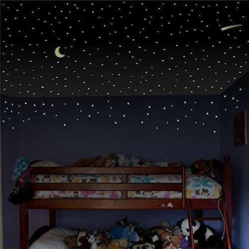 Amlaiworld 103Pcs Pegatinas de pared de estrella luminosos Estrella lunar Luminosa decoración de habitación de niños infantil Decoración del hogar Etiqueta de la pared pegatina decorativa