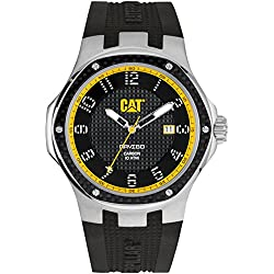 CAT Navigo Carbon Date Men's Quartz Watch with Black Dial Analogue Display and Black Silicone Strap A5.141.21.111