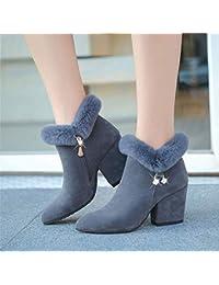 c8c658d2d Eeayyygch Tacones Altos Grueso con Zapatos de Mujer Ventilador de Color  sólido Tubo Corto Cremallera Lateral