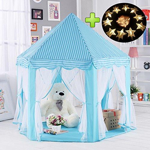 Kinderzelt, kinderspielzelt,Prinzessin Castle Spielzelt, Kinder Nook Zelte für Indoor & Outdoor Use, Tragetasche, Baby Geburtstagsgeschenk, Für Kinder im Alter unter 10 Jahren (Blau)